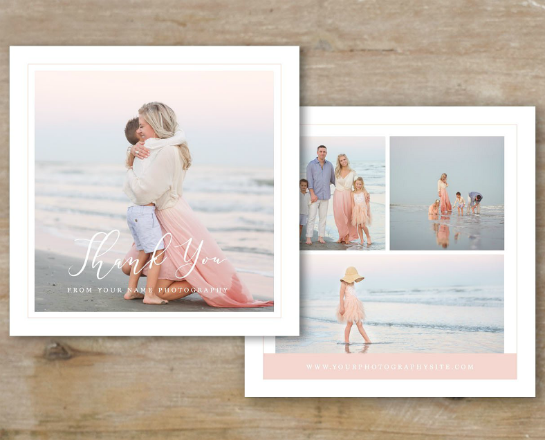 Romantic Beach Pictorial Thank You Card
