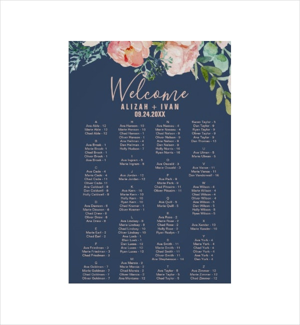 romantic seating chart template