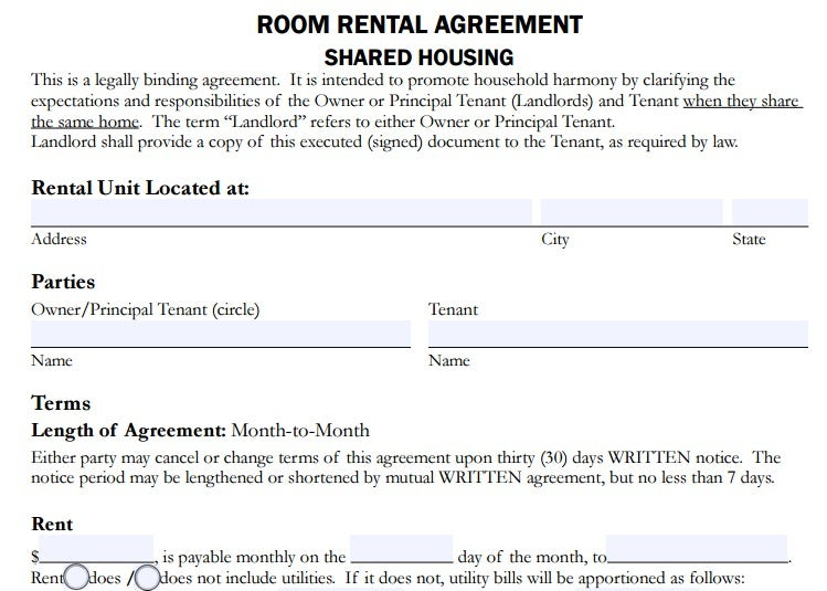 4 Room Rent Agreement Format Templates Pdf Free Premium Templates