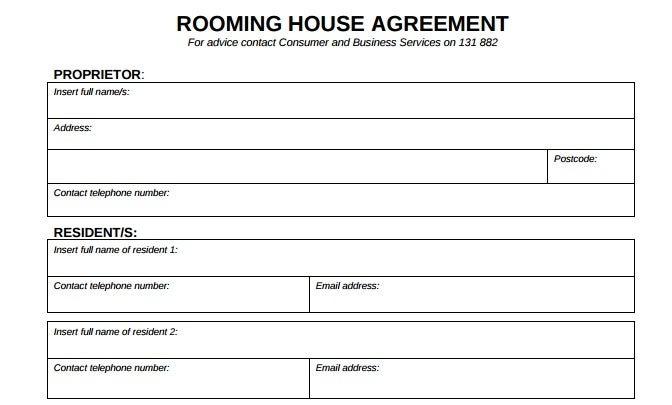 Rooming House Agreement