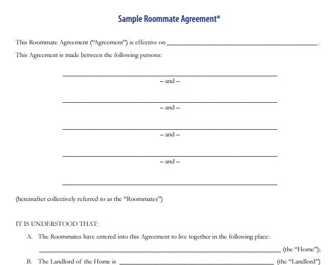 4 roommate rental agreement templates pdf free premium templates roommate agreement template platinumwayz