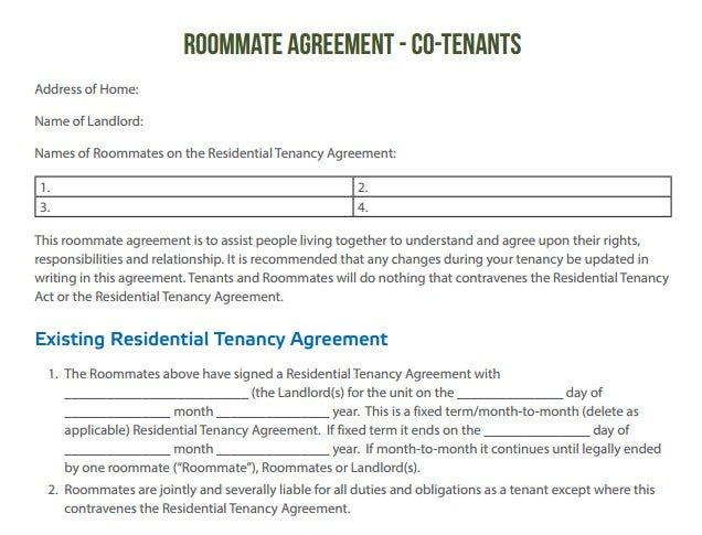 Roommate Agreement Co-tenants