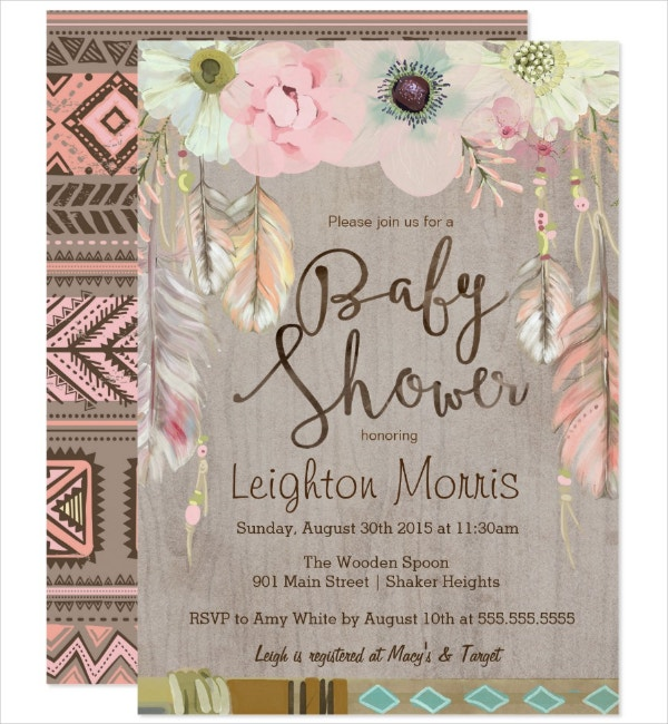 rustic baby shower tribal invitation template