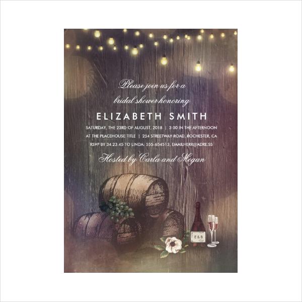 Rustic Bridal Shower Wine Invitation Card