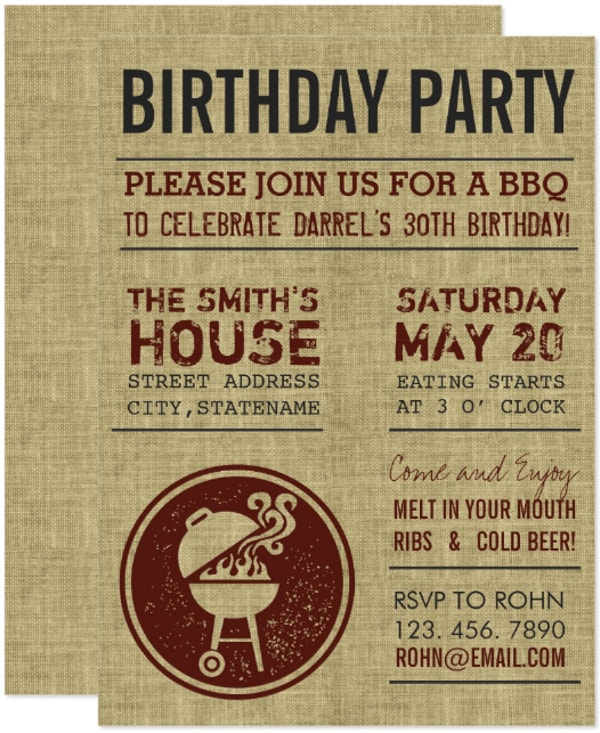 rustic burlap bbq birthday invitation template
