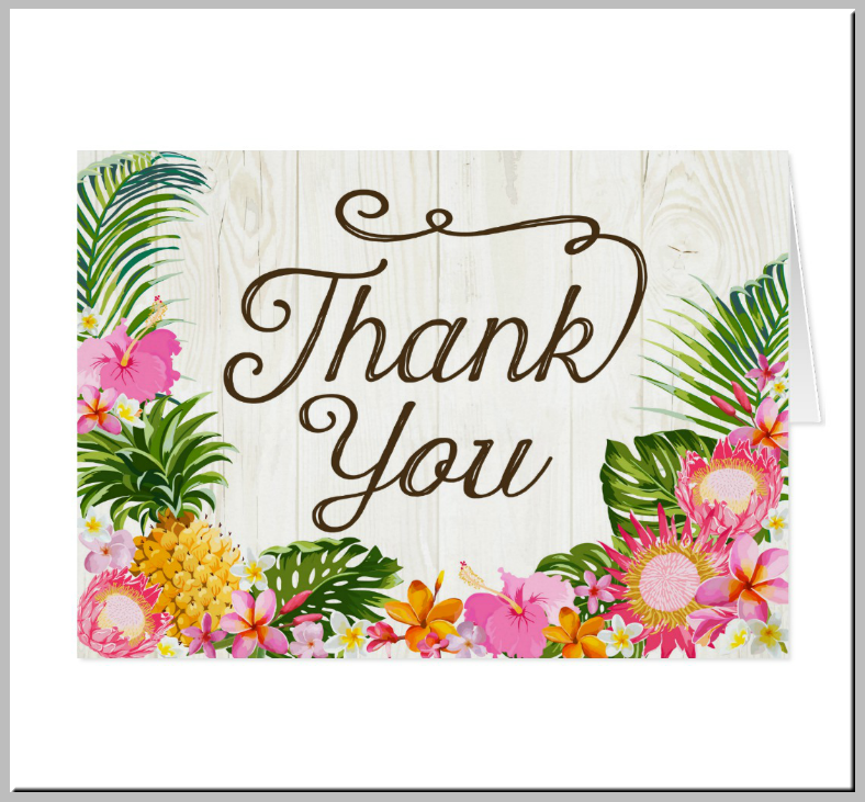 Rustic Luau Beach Thank You Card