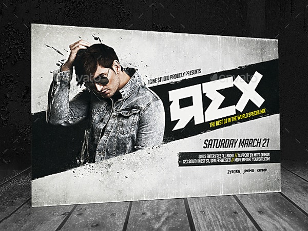 Rustic Minimalist DJ Event Horizontal Flyer Template