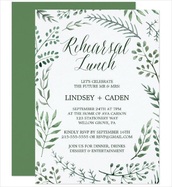 Rustic Rehearsal Lunch Invitation Template