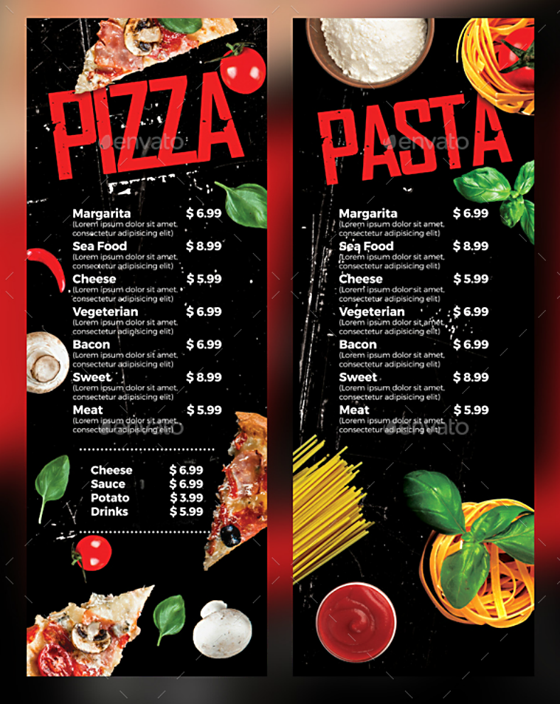 rustic textured pizza pasta menu template 788x990