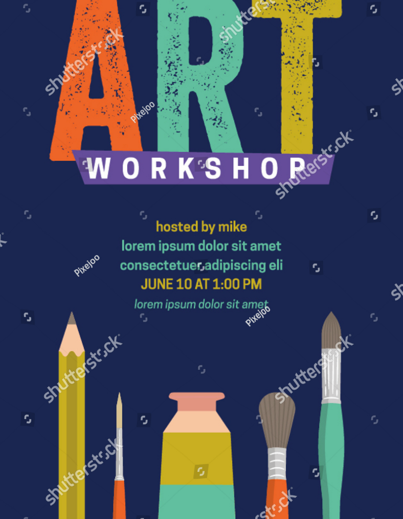 Rustic Typographic Art Workshop Flyer