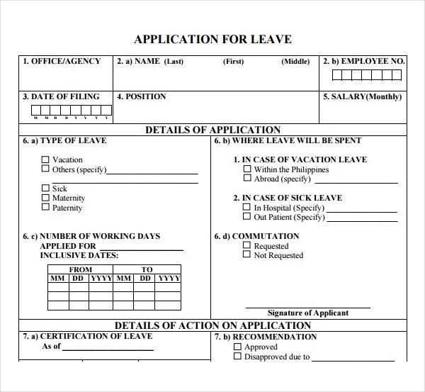 Sample Application For Leave of Absence