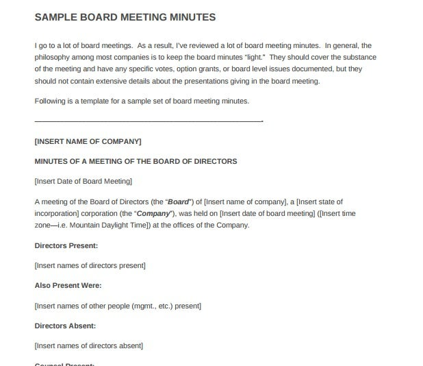 Sample Board Meeting Minutes