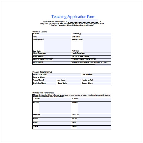 sample britain teacher application form