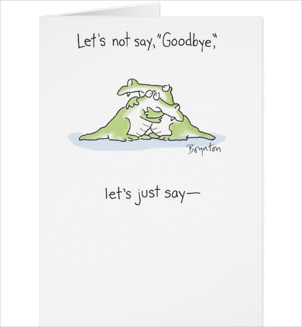 Sample Goodbye Card Template