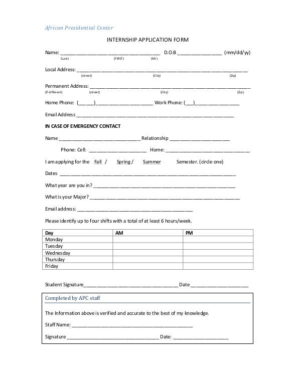 9  internship application form templates
