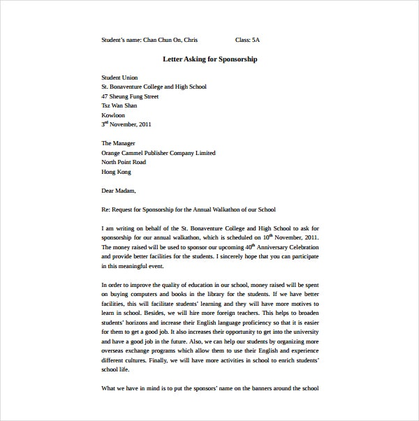 2+ Sponsorship Request Letter Templates - PDF | Free