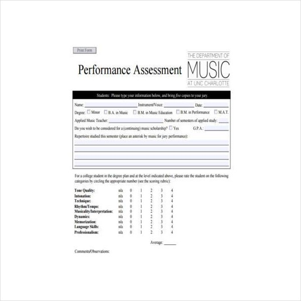 Sample Performance Assessment Form