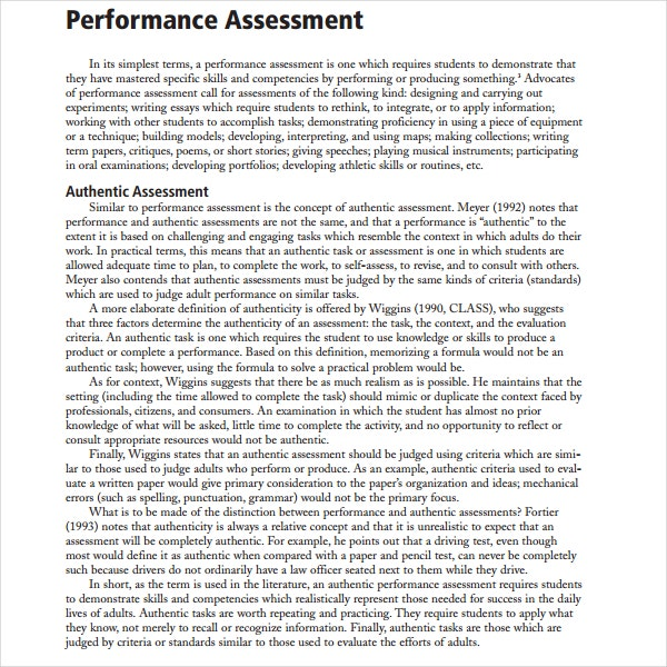 Sample Performance Assessment Template