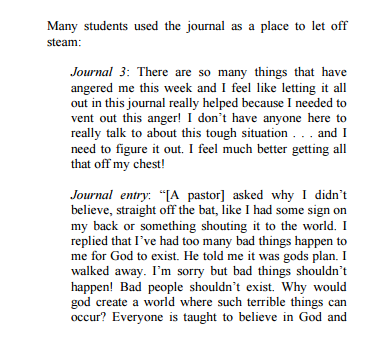sample reflective journal entry
