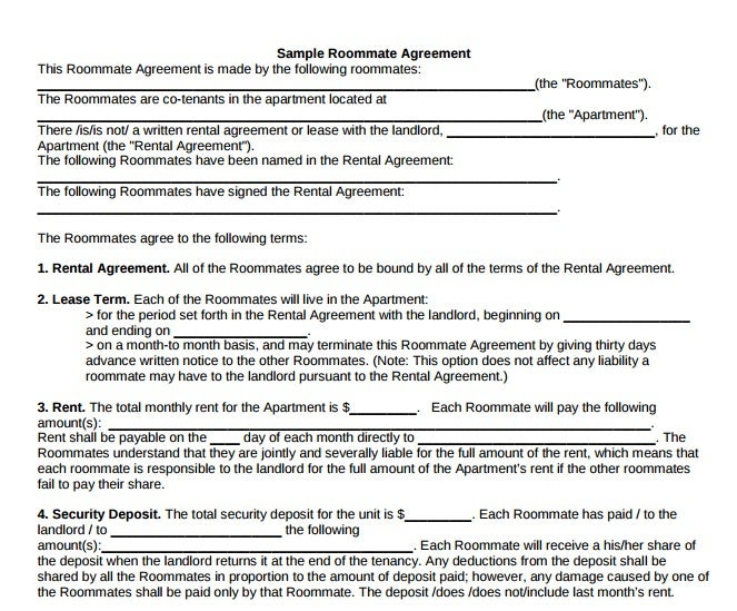 Roommate Rental Agreement Templates  Pdf  Free  Premium Templates