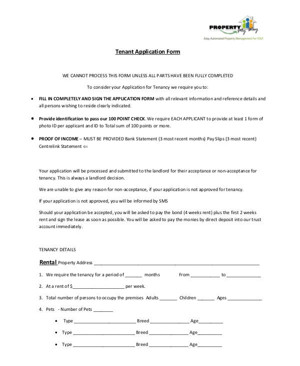 Sample Tenant Application Form