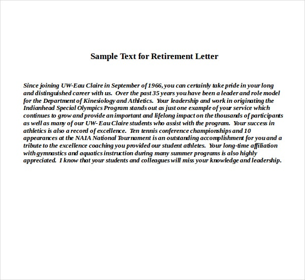 Sample Text for Retirement Letter