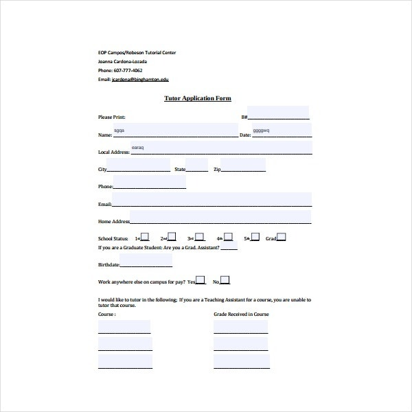 Sample Tutor Application Form