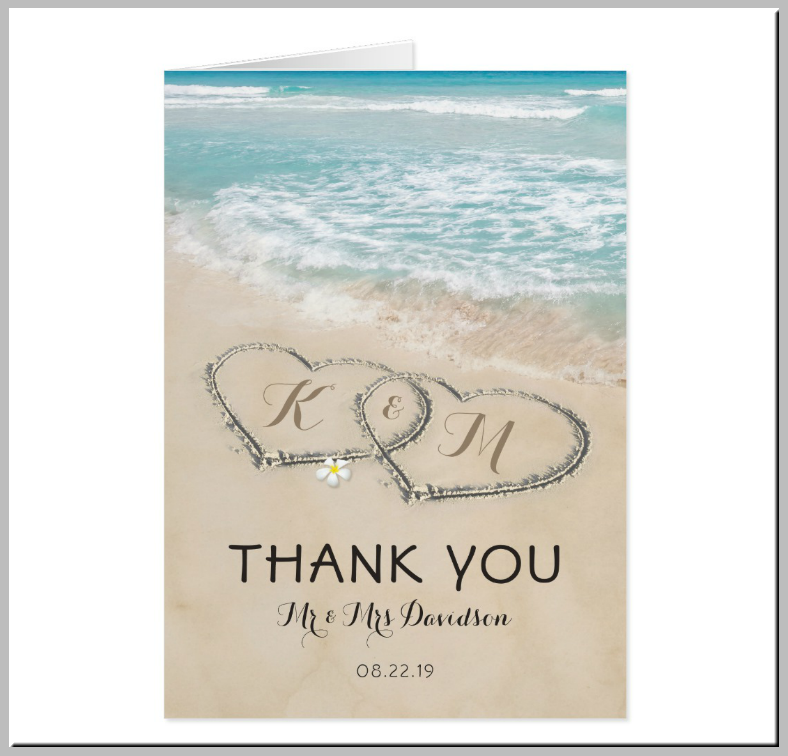 Sand Hearts Beach Thank You Card