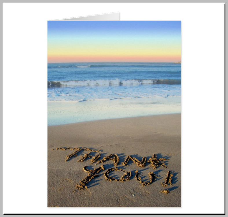 Sand Written Beach Thank You Card