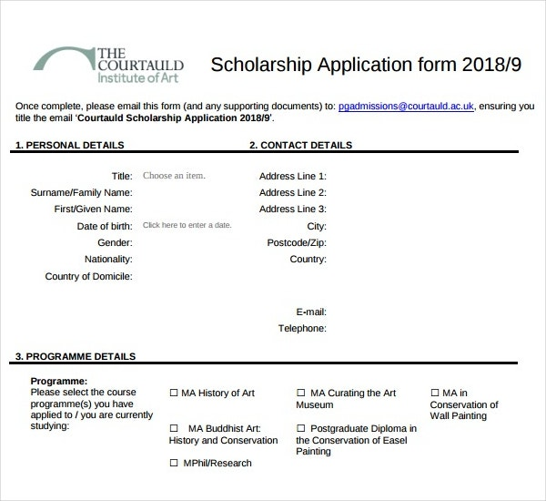 Scholarship Application Form Sample