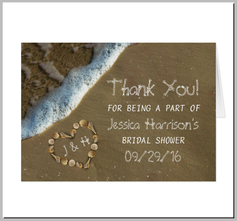 Sea Shell Heart Beach Thank You Card