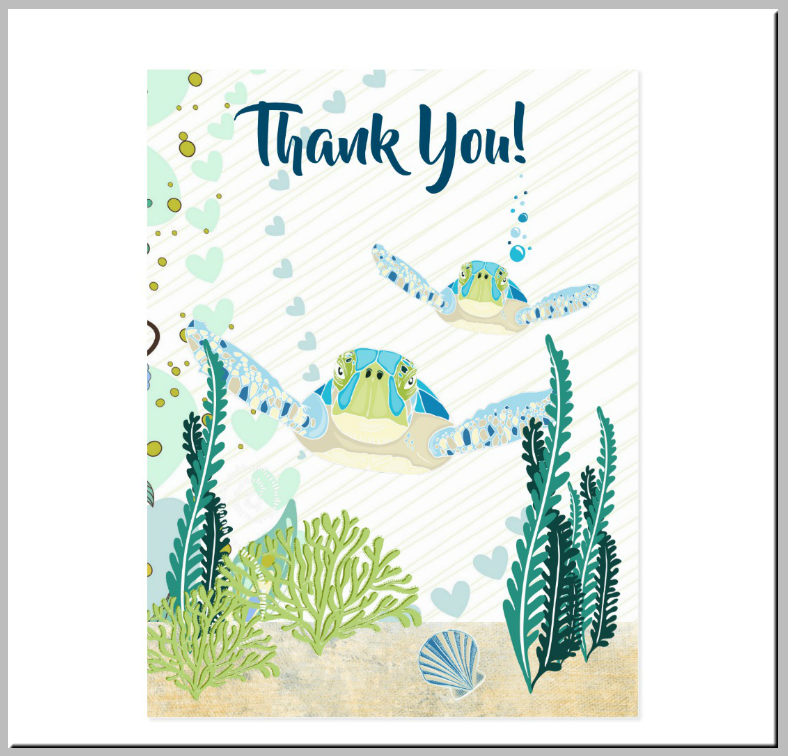 Sea Turtles Underwater Beach Thank You Card