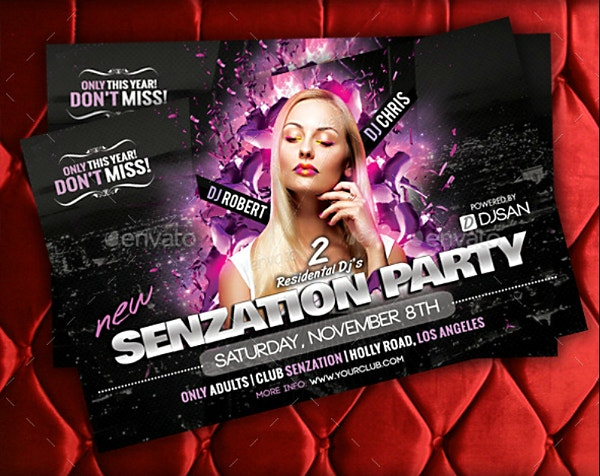 Sensational Party Horizontal Flyer Template