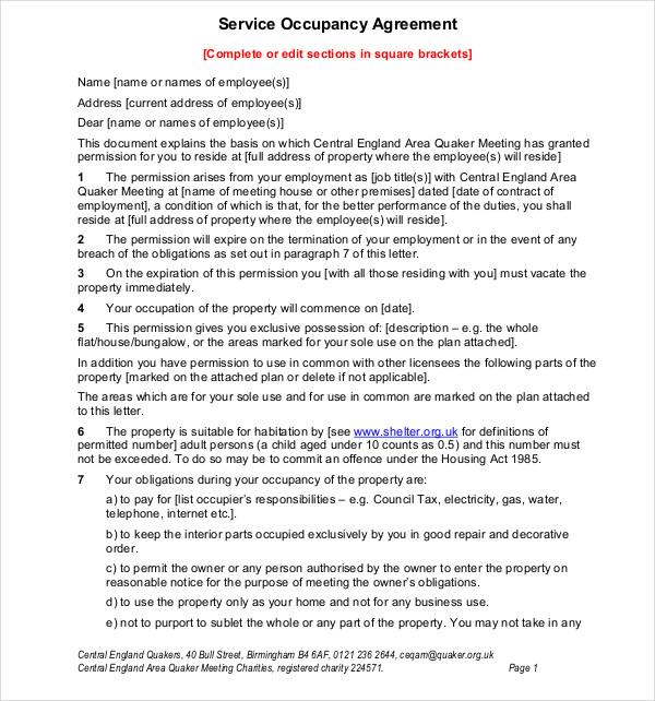 9 Occupancy Agreement Templates Pdf Doc Free Premium
