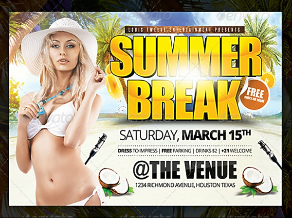 sexy summer break horizontal flyer template