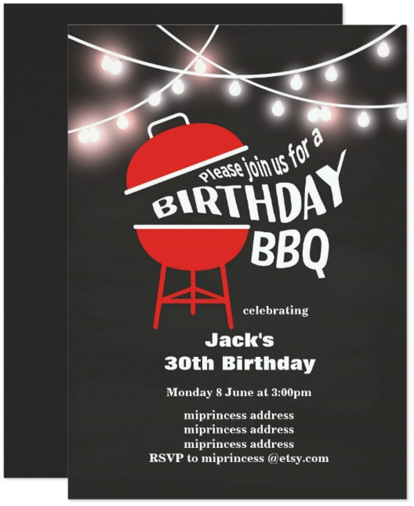 simple bbq birthday invitation template