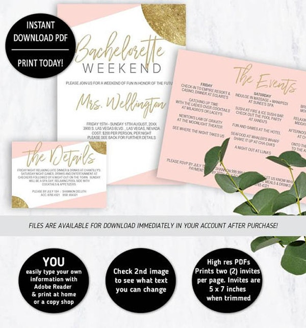 Simple Bachelorette Party Weekend Invitation
