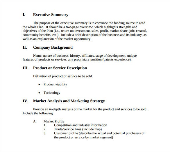simple business summary template