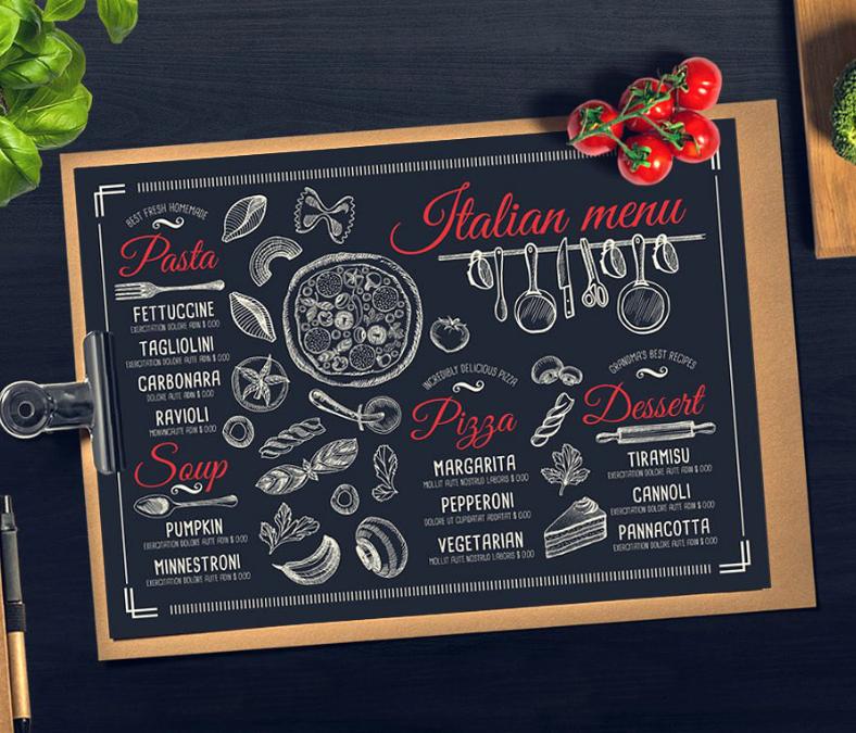 simple chalkboard themed italian menu template 788x675