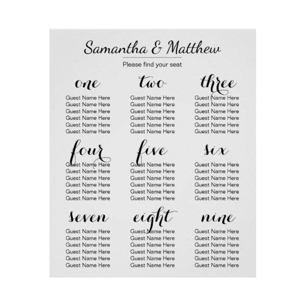 Simple & Chic Wedding Seating Chart