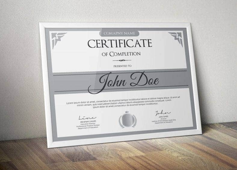 simple gray certificate 788x565