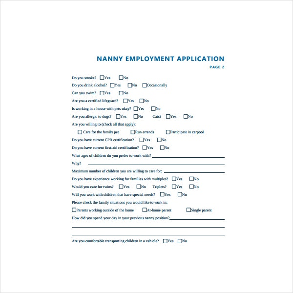 Simple Nanny Application Form