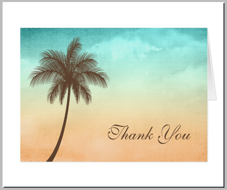 Solo Coconut Tree Beach Thank You Card
