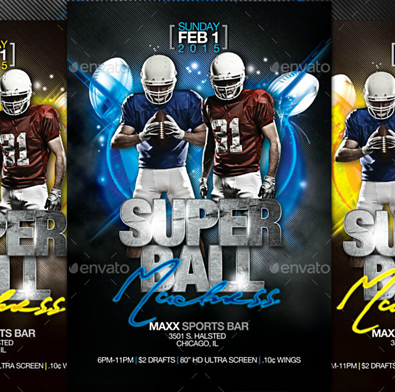 sports madness super bowl flyer template 788x781