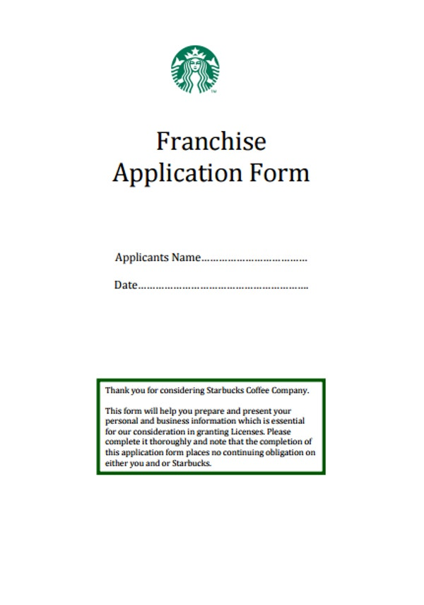 Starbucks Franchise Application Form
