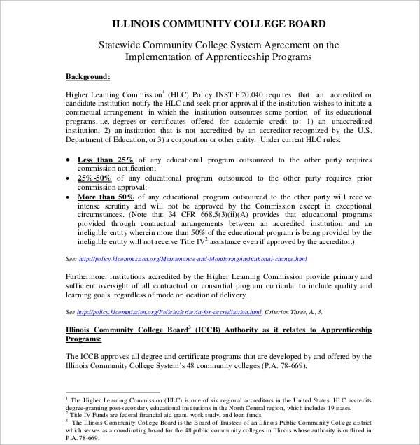 statewide apprenticeship agreement