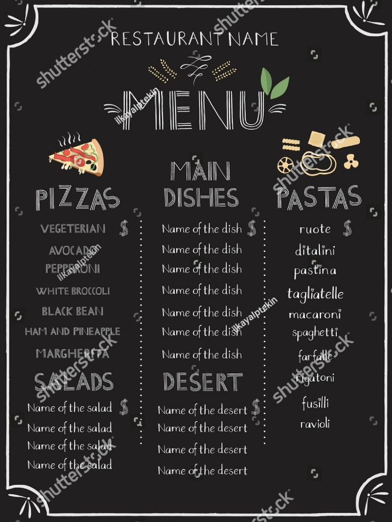 Stock Creative Pasta Menu Template