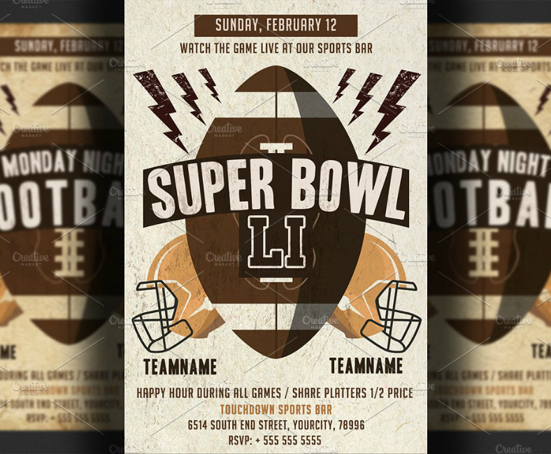 Stock Minimalist Super Bowl Flyer Template