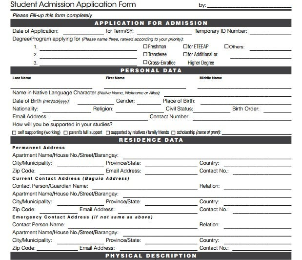 Student Admission Application Form