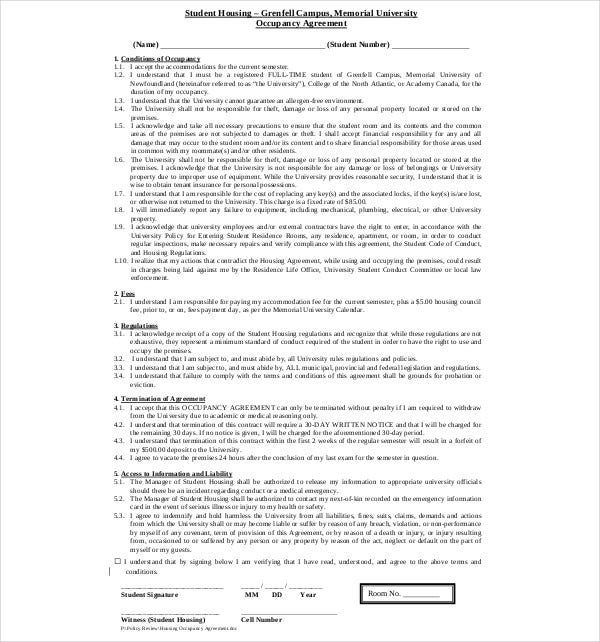 student housing occupancy agreement